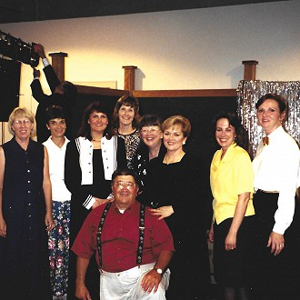 Performing Arts Team led by Chairman Paul Brandl (front) L to R: Jan McKnight, Diane Mikolyzk, Donna Hahn, Julie Overby, Freddie Noordyk, Margaret Wittkopp, Deborah Heberlein, and Kate Herman