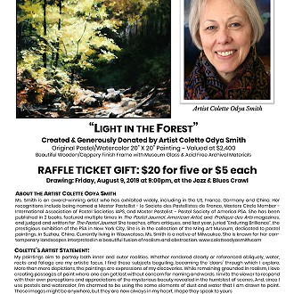 "2019 Painting Raffle: ""Light in the Forest"" donated by Colette Odya Smith"