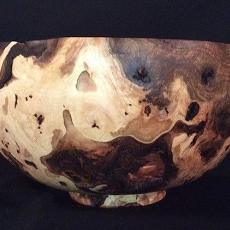 "Richard ""Dick"" Bemis, Hand turned burl wood pieces: #12 Bowl Dog Wood Turning, LLC N1614 Hwy 28 Adell, WI (located in Batavia)"