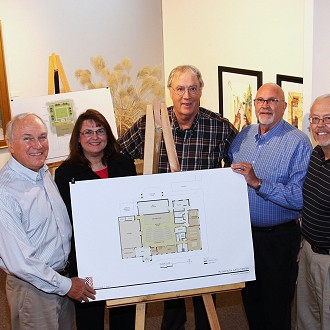 Capital Campaign Building Renovation Committee led by Chairman Lou Gentine. 2010-2012. L to R: Tom Slater, Donna Hahn, Lou Gentine, Karl Galstad, Bernie Nowicki.  Not Pictured Bob Hoopman