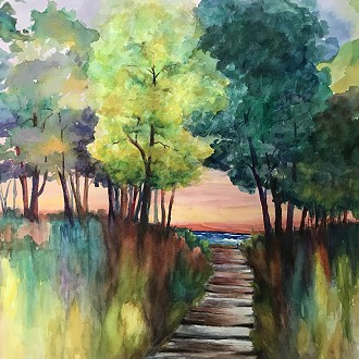 Phyllis Brillowski, Watercolor, land and seascapes, floral paintings: #1 PAC Greatroom 520 E. Mill St. Plymouth, WI
