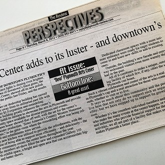 2012 Plymouth Review Article about the Plymouth Arts Center Renovation & Expansion
