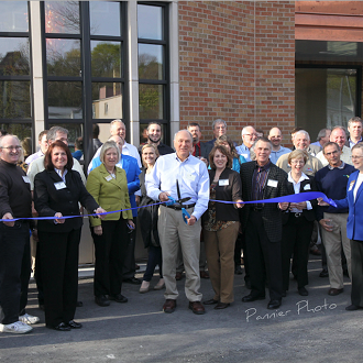 Sheboygan County Chamber Ribbon Cutting in 2012.  The newly renovated and expanded Plymouth Arts Center.  President Tom Slater and Executive Director Donna Hahn, along with PAC board members, committee members and volunteers.