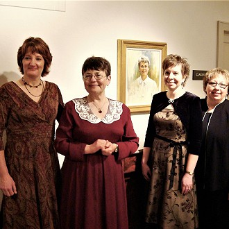 "L to R: Founders Lori Beringer, Andrea Fenner, Nancy Smith and Dena Adamson. Nancy Smith said, ""One of my proudest achievements is being instrumental in growing the arts by joining with others to create the Plymouth Arts Foundation. We started with a visual arts gallery–Gallery 110 North, community theater, classroom arts instruction, and other performing arts. The chamber worked collaboratively with Plymouth Arts Foundation to attract visitors and enliven our community with the arts."""