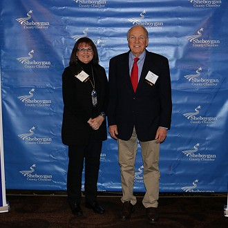 President Tom Slater & Executive Director Donna Hahn at the 2019 County Chamber Awards Night.  Plymouth Arts Center was nominated in two categories: Tourism Gem of the Year and Non-Profit of the Year.